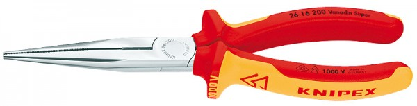 Knipex VDE Flachrundzange mit Schneide verchromt 200mm