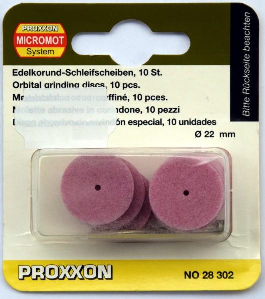 Proxxon Edelkorund-Schleifscheiben, 22 mm, 10 Stück mit Träger (Art.Nr. 28 302)