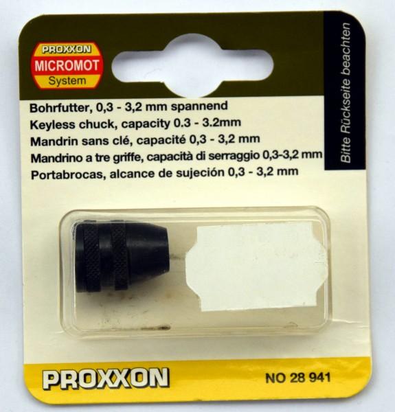 Proxxon Dreibacken-Bohrfutter, Spannbereich 0,3 bis 3,2 mm (Art.Nr. 28 941)