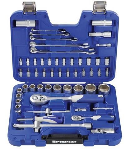 Steckschlüsselsatz 60-teilig, 1/4 + 1/2 Zoll, Schlüsselweiten 4-32 mm