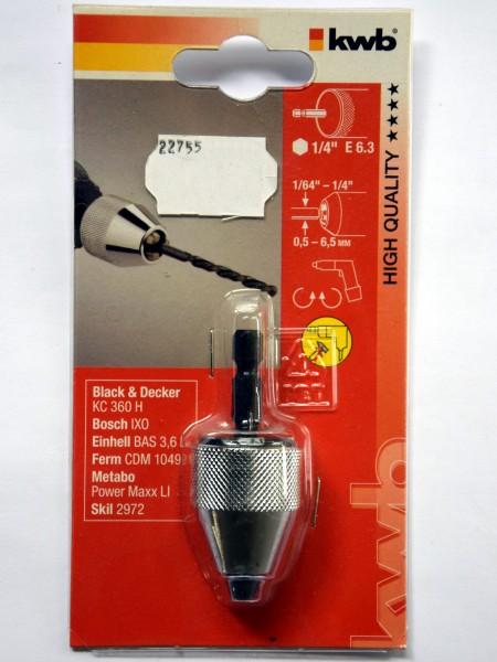 KWB Schnellspann-Bohrfutter mit 6-Kant-Aufnahme und Spannbereich 0,5 - 6,5 mm