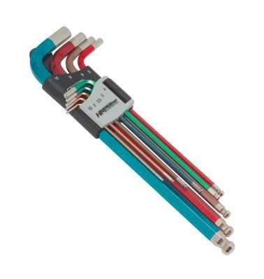 Inbus-Kugelkopf-Stiftschlüsselsatz, 9-tlg., 1,5mm bis 10mm