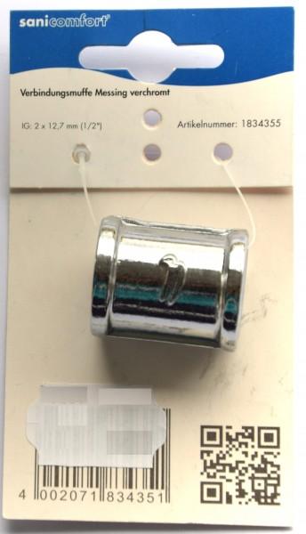 """Verbindungsmuffe Messing verchromt IG: 2 x 12,7mm (1/2"""")"""