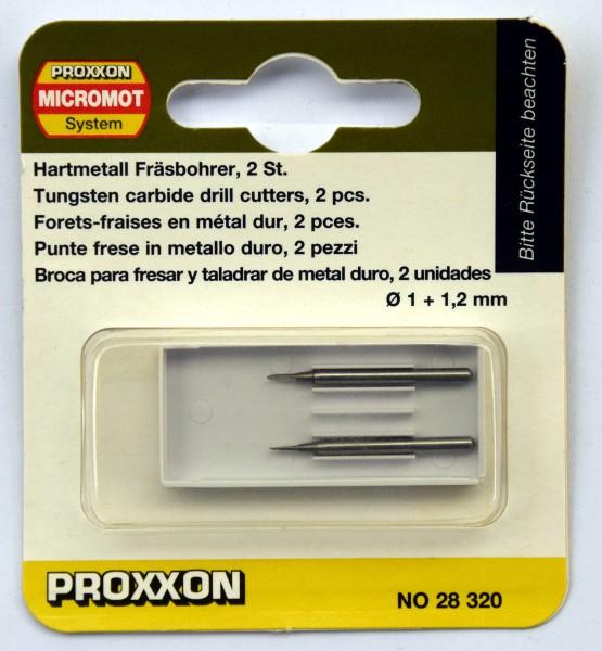 Proxxon Hartmetall-Fräsbohrer, je 1 Stück 1,0 und 1,2 mm (Art.Nr. 28 320)