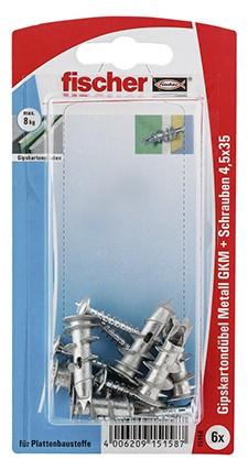 Gipskartondübel Metall GKM S mit Schraube (VE=6 Stück)