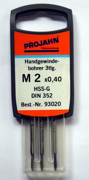 Projahn Handgewindebohrer, 3tlg. M2 x 0,40 (Art. Nr. 93020)